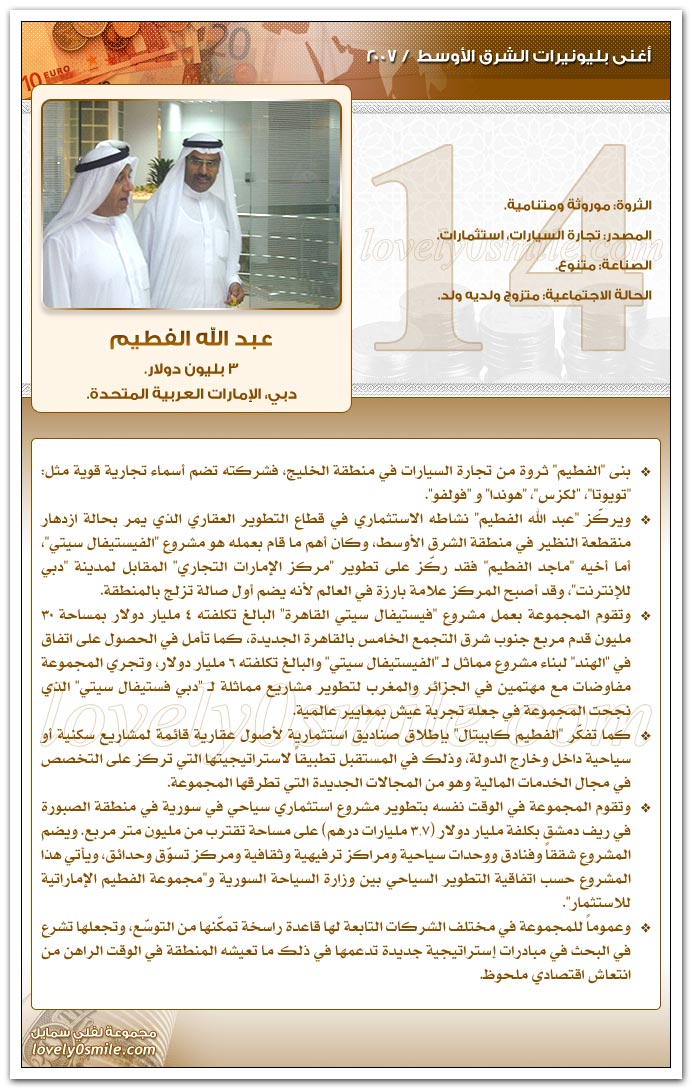 أغنى بليونيرات الشرق الأوسط 2007
