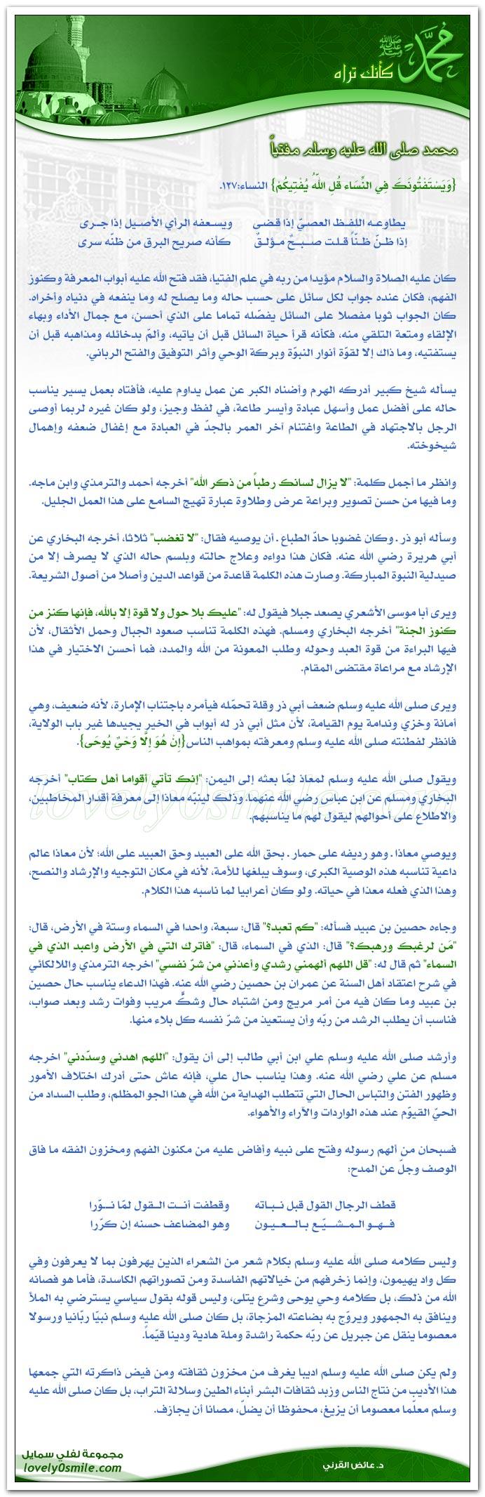 محمد صلى الله عليه وسلم مفتياً