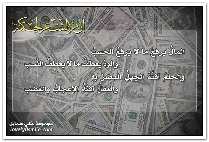 المال يرفع ما لا يرفع الحسب والود يعطف ما لا يعطف النسب .. والحلم آفته الجهل المضر به والعقل آفته الإعجاب والغضب