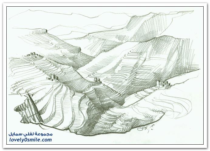 صور لليمن بريشة رسام ألماني يرسم اليمن بالفحم
