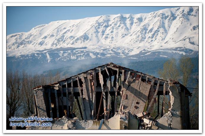 صور زلزال مدينة أكويلا في ايطاليا