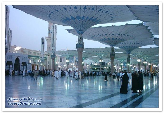 صور ساحات المسجد النبوي الشريف بعد تركيب المظلات