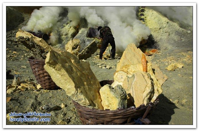 صور الكبريت والتعدين في جاوا الأندونيسية