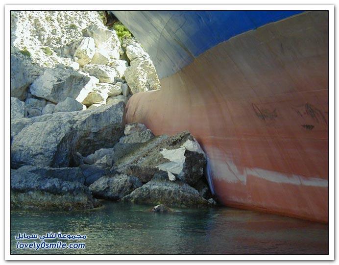 صور اصطدام سفينة شحن