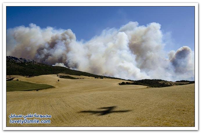 صور من حرائق في منطقة البحر الأبيض المتوسط