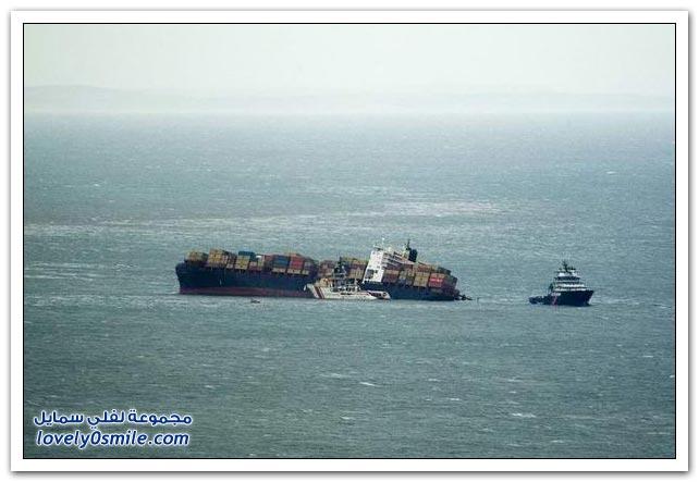 صور لحريق سفينة شحن وحادث سفينتين