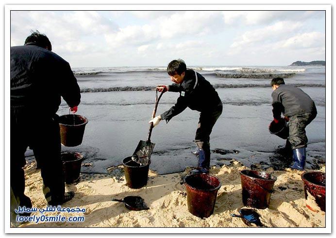صور تسرب النفط من ناقلة بحرية