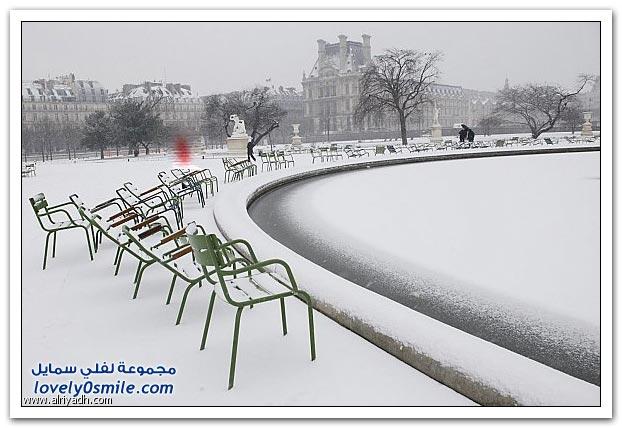 صور بركان جبل مايون + الثلوج تجتاح باريس + أوروبا تكسوها الثلوج