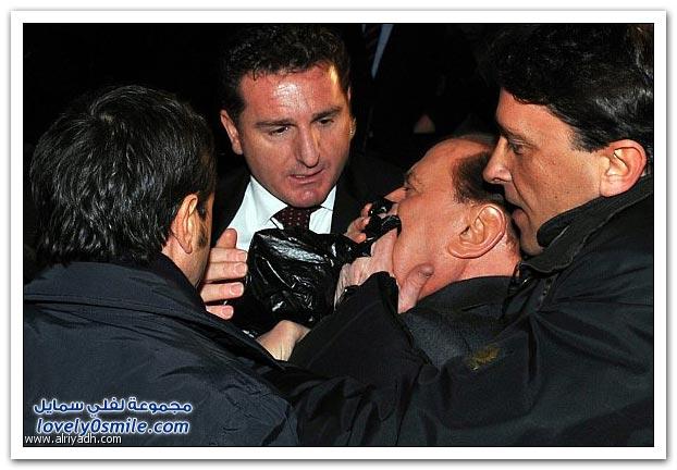 صور + فيديو: رئيس الوزراء الإيطالي يتعرض لاعتداء