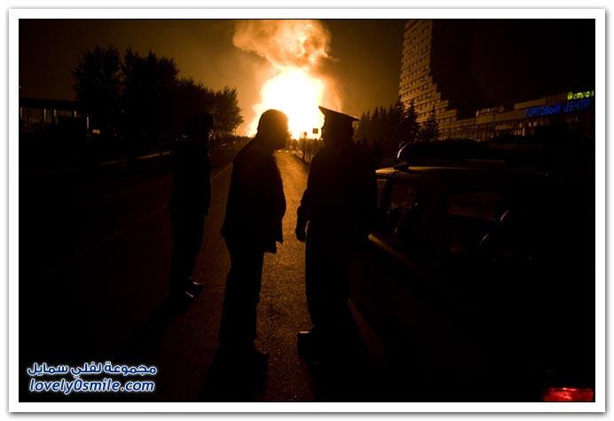 صور انفجار أحد أنابيب الغاز فى موسكو