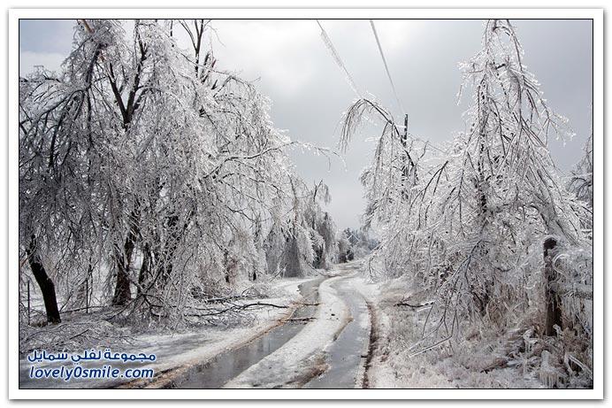 صور لعاصفة ثلجية في ولاية أركنسو