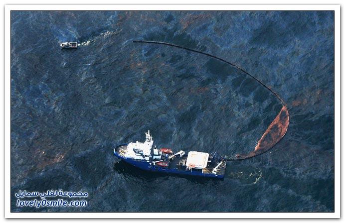 صور انفجار في محطة تنقيب لنفط وتسربه على سواحل لويزيانا