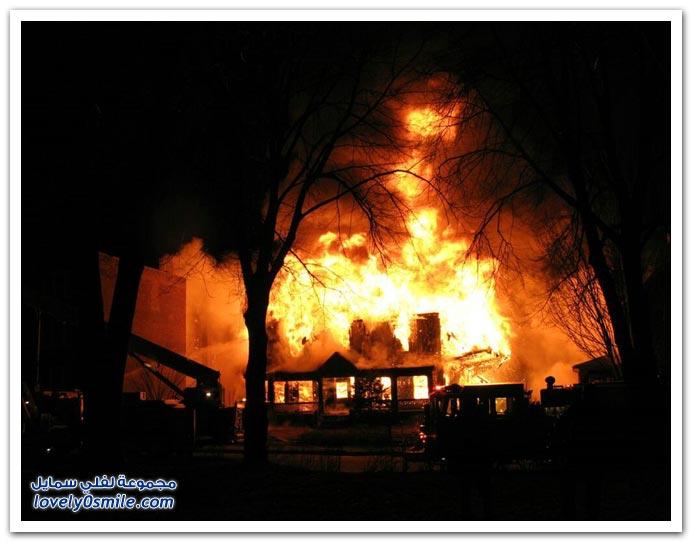 صور للحرائق ورجال الإطفاء