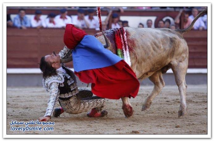 صور الإصابة التي تعرض لها الإسباني خوليو أباريسيو في مسابقة مصارعة الثيران