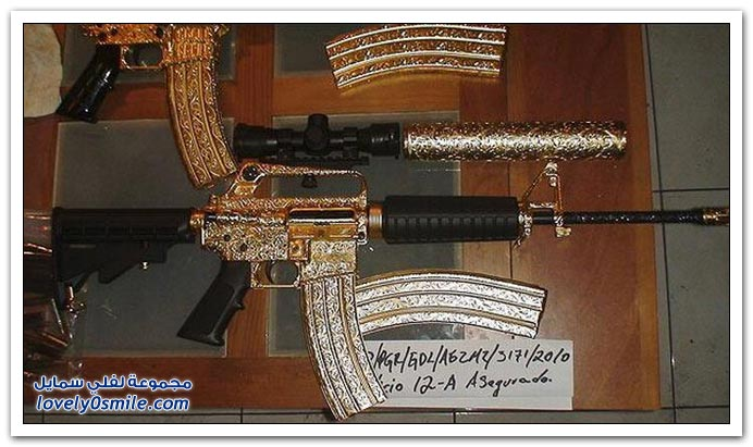 صور: رشاشات ومسدسات مطلية بالذهب والألماس