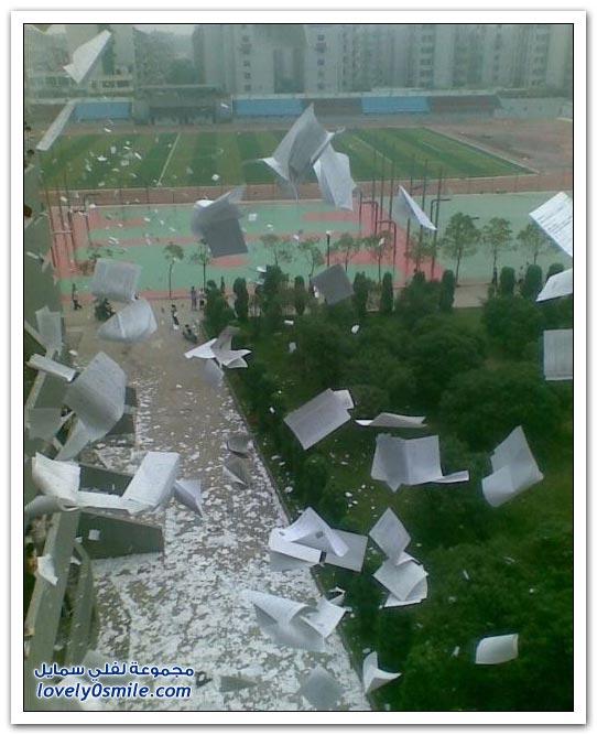 صور: احتفال الطلاب الصينيين بنهاية الإمتحانات