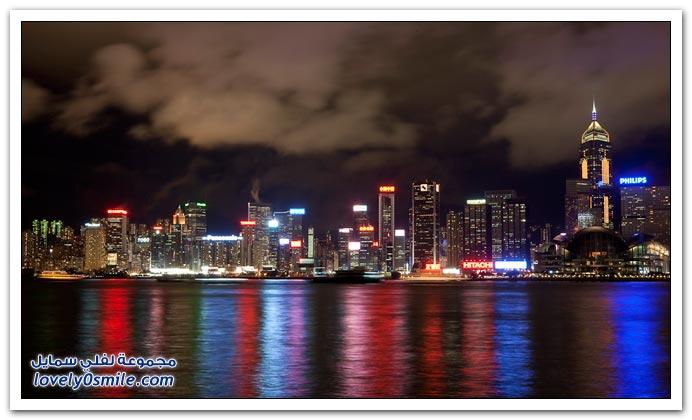 صور جمال مدينة هونكونج ليلاً