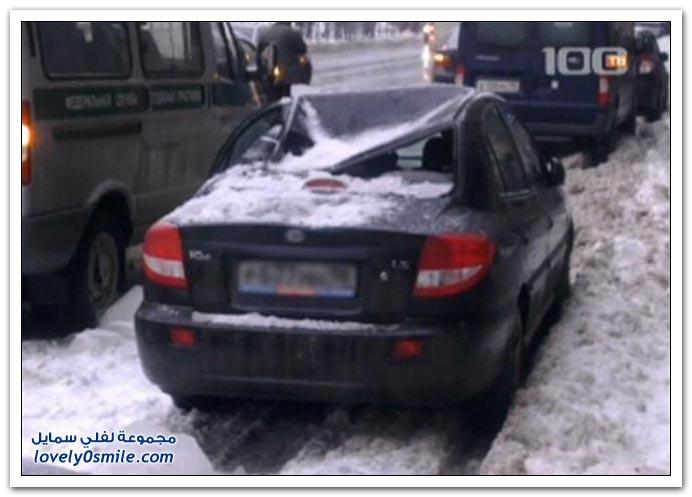 صور: في روسيا لا تترك سيارتك قريبة من أي بناية