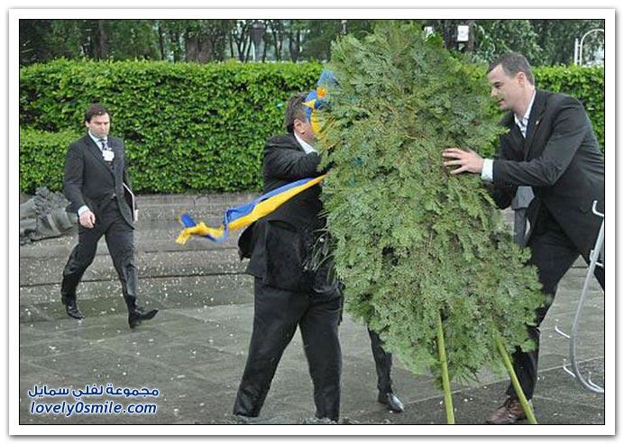في ذكرى الجندي المجهول لأوكرانيا الزهور تسقط على رأس الرئيس