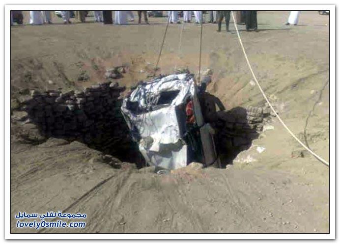 صور سقوط سيارة في بئر بالسعودية
