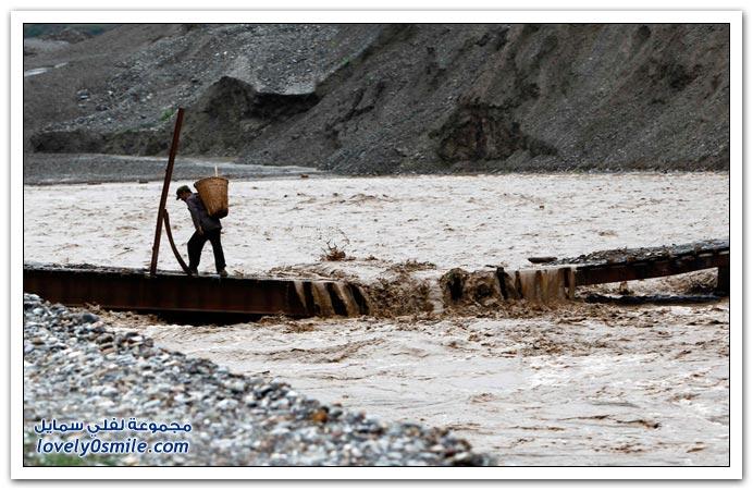 صور انهيارات صخرية في الصين