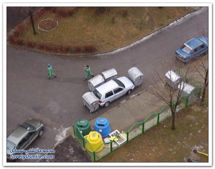صور نذالة عمال الزبالة