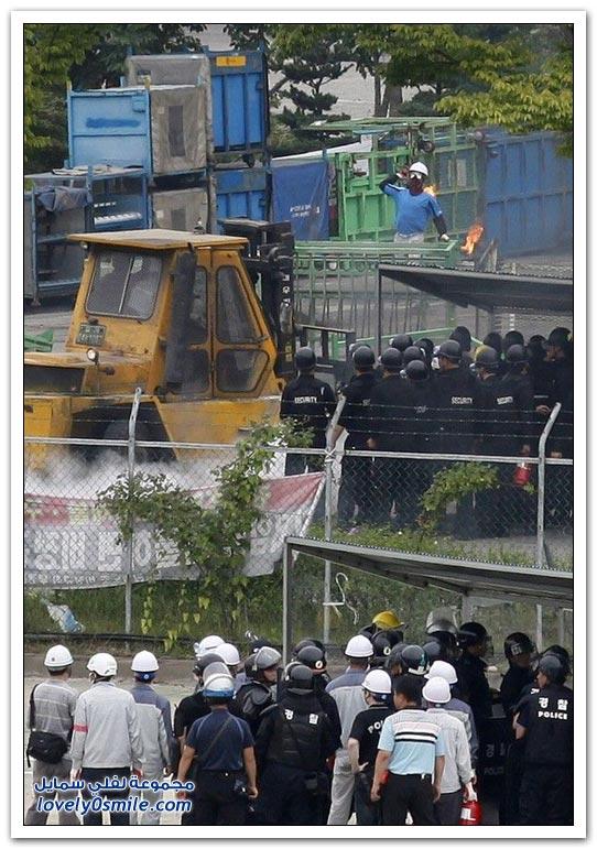 صور أحد الإضرابات في مصنع سيارات في كوريا الجنوبية