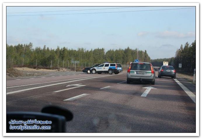 صور لنهاية مطاردة في السويد