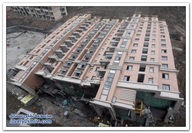انهيار مبنى من 13 طابق في شنجهاي