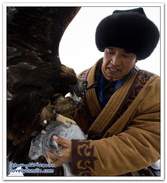 صور الصيد بالصقور في كازاخستان