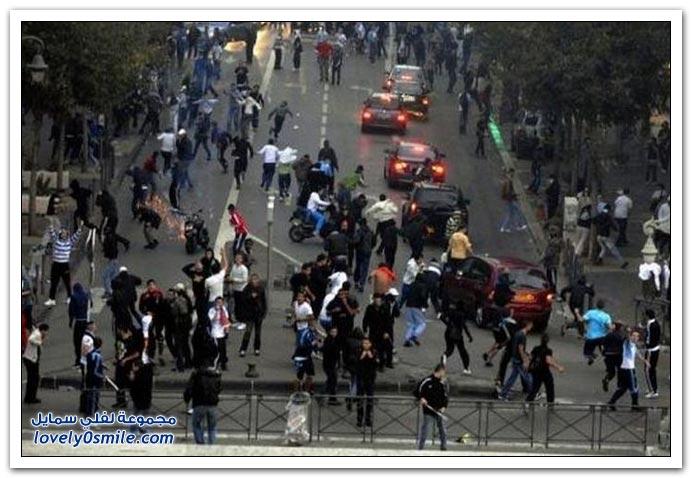 مظاهرات ومشاجرات المشجعين