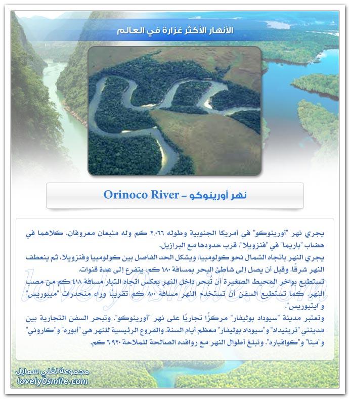 الأنهار الأكثر غزارة في العالم