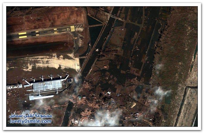 صور قبل وبعد زلزال وتسونامي اليابان 2011