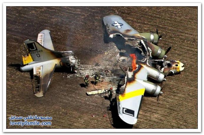 طائرة من الحرب العالمية الثانية تحترق قرب شيكاغو