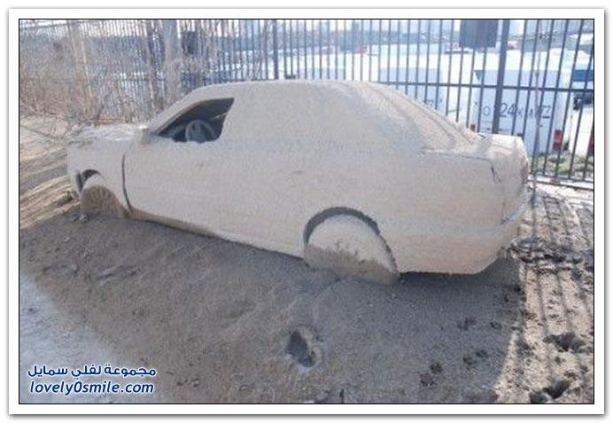 تخيل تصحى الصباح وتلاقي سيارتك بهذا الشكل