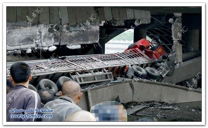 سوء البناء وثقل الشاحنة سبب انهيار جسر في الصين