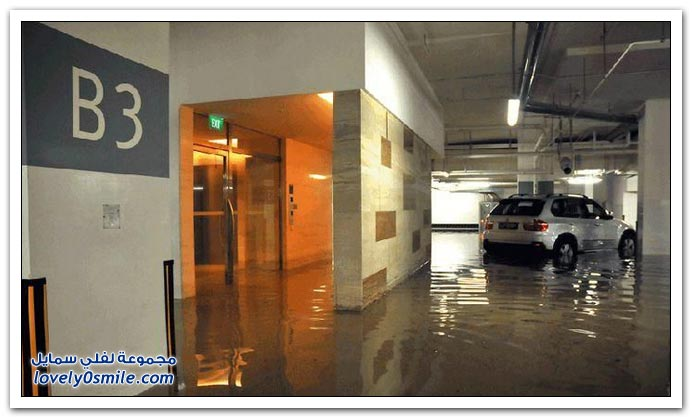 غرق مواقف سيارات في سنغافورة