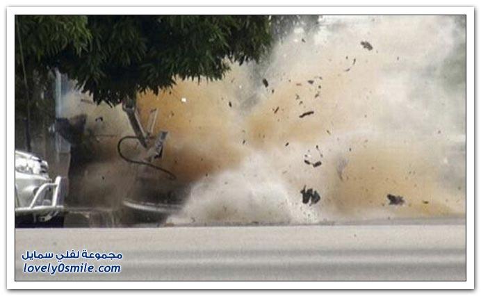 صور انفجار سيارة مفخخة في تايلاند