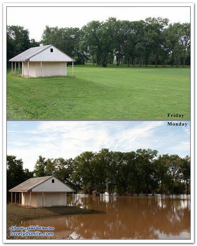 قبل وبعد إعصار ايرين