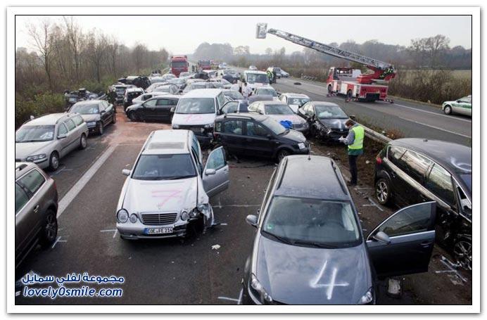 حادث تصادم 52 سيارة في ألمانيا