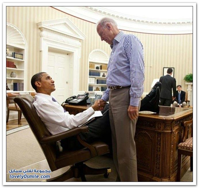 أوباما وكأنه لا يحسن التفكير إلا ورجليه مرفوعة