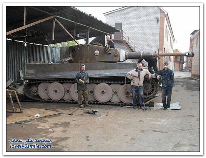 صناعة دبابة في منزل روسي