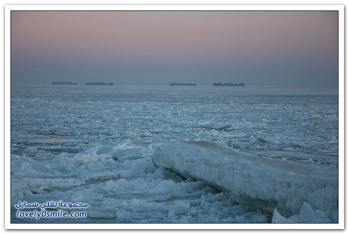 تجمد خليج أوديسا في أوكرانيا