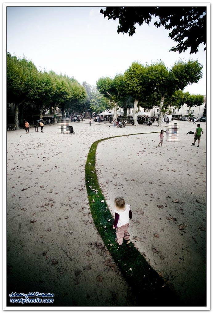زراعة عشب على مسافة واحد كيلو ونصف في قرية فرنسية
