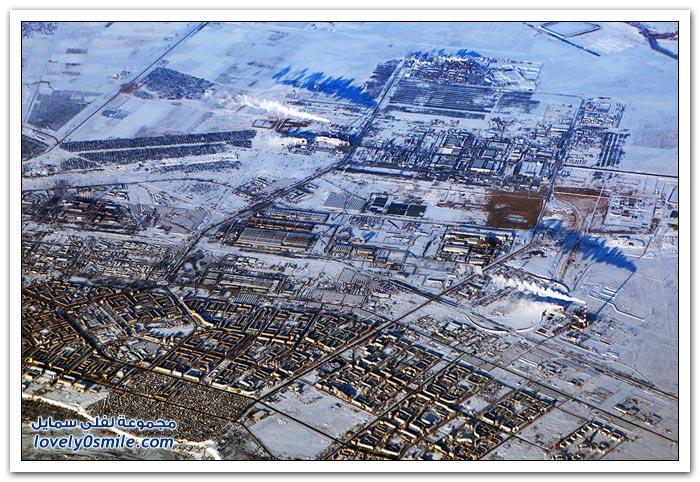 صور من الطائرة في رحلة من البحرين إلى موسكو