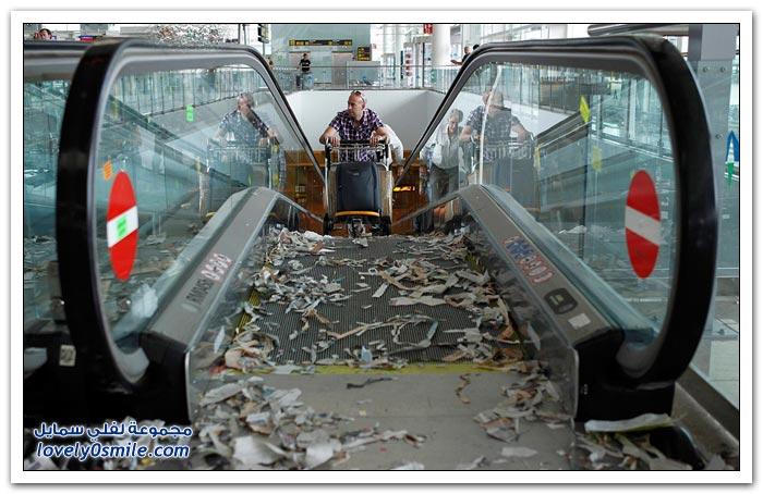 إضراب عمال النظافة في مطار شرم الاسباني في برشلونة