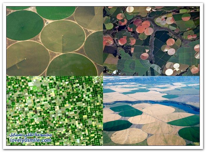 صور للأراضي الزراعية ذات الأشكال الدائرية