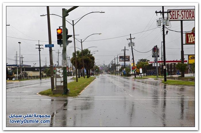 إعصار ايزاك في جنوب ولاية لويزيانا الأمريكية