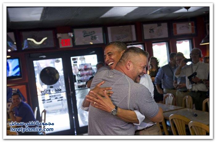 أوباما في الأحضان