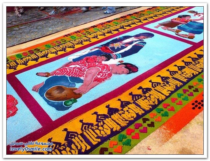 فن رائــع .. السجاد الملون من نشارة الخشب ! Colored-carpet-of-sa
